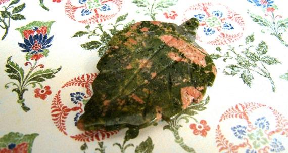 Large Carved Unakite Leaf Pendant