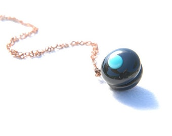 """Fused glass necklace - """"Blacaron"""", reversible black macaron with turquoise/red dot"""