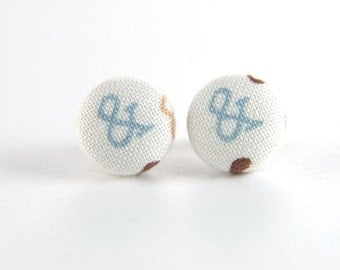 Blue ampersand (&) stud earrings -  fabric button with surgical steel posts