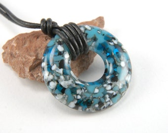 Turquoise marble fused glass organic donut ring necklace with vanilla off-white