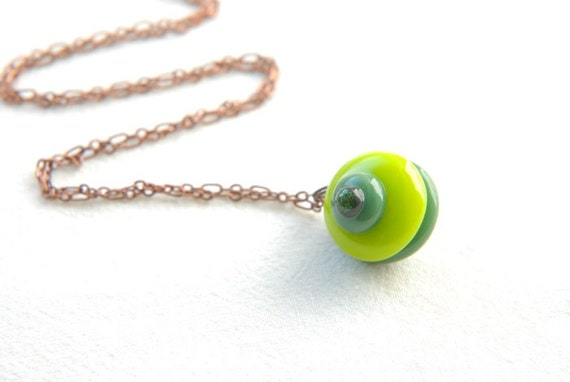 Fused glass necklace - spinning top, reversible pendant in dark and bright greens