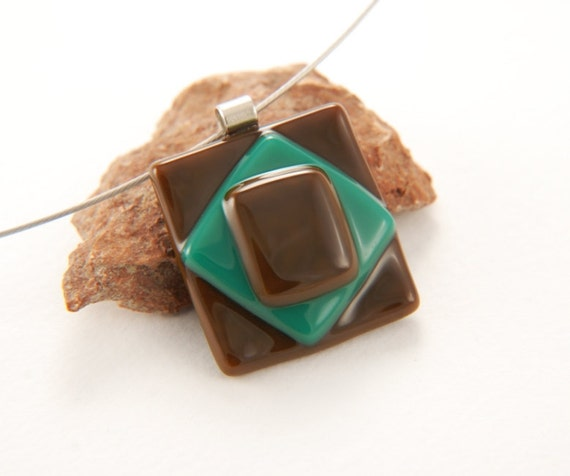 After Eight fused glass necklace - chocolate brown with teal green