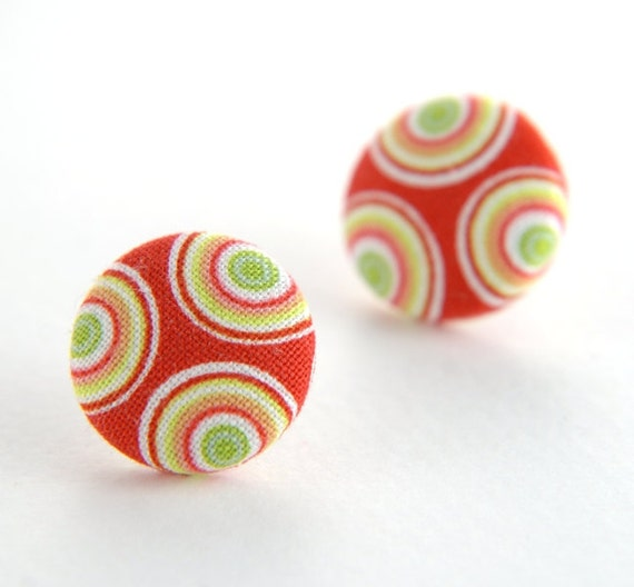Large red-white-yellow circle fun stud earrings - fabric button with surgical steel posts