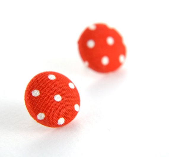 Polka dot white on red large stud earrings -  fabric button with surgical steel posts