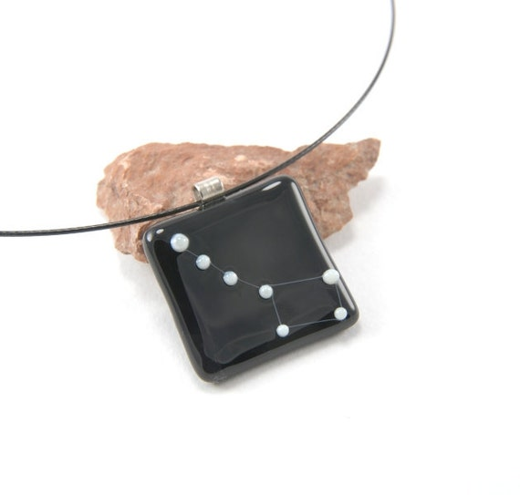 Little Dipper constellation fused glass necklace, dark purple and white