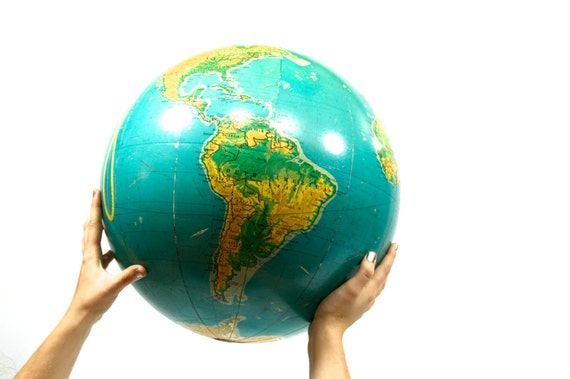 The World In Your Hands - Vintage - Globe - Large