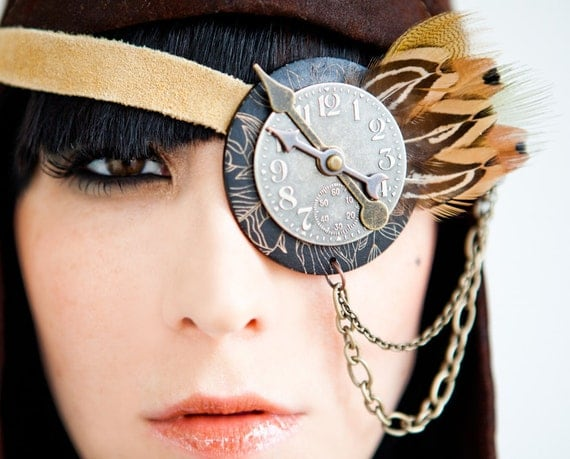 Steampunk clock face eye patch