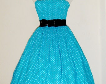 Vintage inspired  Retro Rockabilly swing summer dress - Blue and White Polkadots