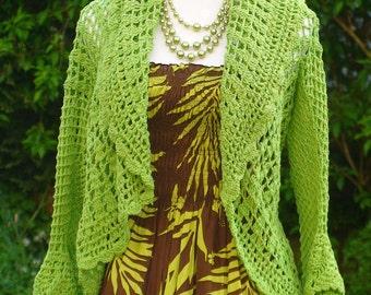 Crochet Bolero Jacket - In Green