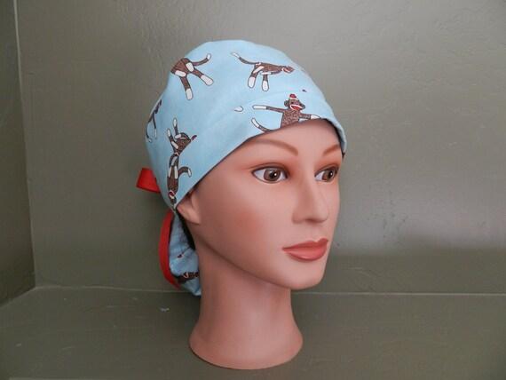 Sock monkey ponytail scrub cap