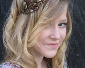 Brown satin headband with pheasant feather