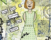 Mixed Media Fine Art Print, She has a spring in her step
