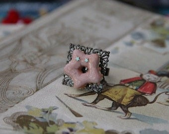 Star Mini Pink Frosting Donut Budget Geek Girl Ring