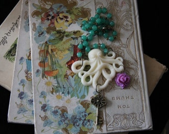 Octopus Secret Garden Fairy Tale Book Geek Girl Necklace