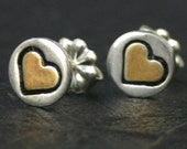 Valentine Minis, tiny post with hearts, teenie, small, sterling silver posts with gold plated heart, button, sterling silver button