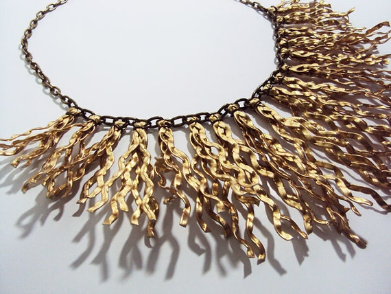 Faux Leather fringe statement necklace, bib necklace - yellow gold