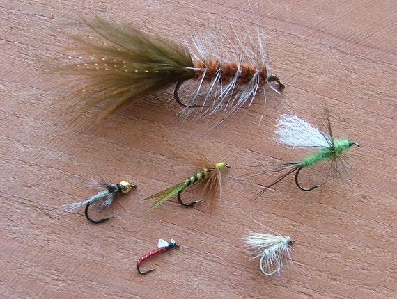 Great Gift for a Fisherman, Fly fishing Six-pack of Trout flies, Eastern Selection