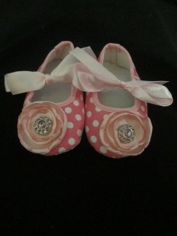 Pink and White Polka Dot Baby Shoes