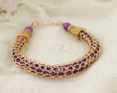 Wire Weave Royal Purple and Gold Bracelet