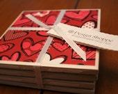 Tile Coasters - Hearts a Flutter