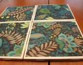 Tile Coasters - Fern Floral