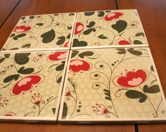 Tile Coasters - Cherry Flowers