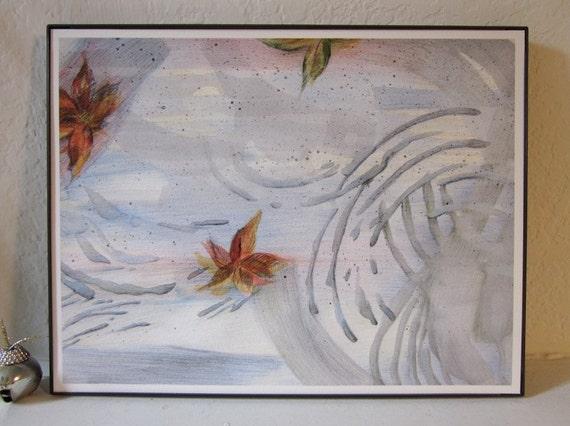 Wavelength.  Autumn leaves, rain puddle, Giclée art print, maple leaves, gray, orange, green, blue, red