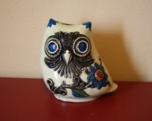 Hippie Chic Groovy Plastic Owl Coin Bank Dated 1968