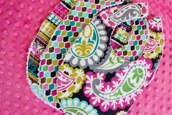 SALE Baby Girl bib set  : Set of Three on White Bubble Dot Minky / Newborn bib / ModernBib / BabyBib / Baby Girl Bibs / Bib Sets /