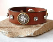 Leather Cuff Bracelet Brown with Gorgeous Jewelry Star Center Piece Womens,  Reclaimed leather