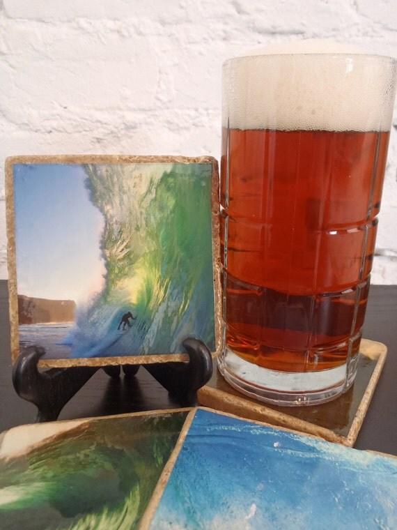 Handmade Surfing Stone Coaster Set (4)