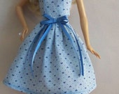Handmade Barbie Clothes-Blue with hearts Barbie Dress