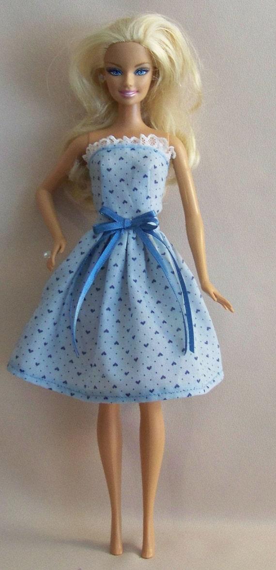 Handmade Barbie Clothes-Blue with hearts Barbie Dress
