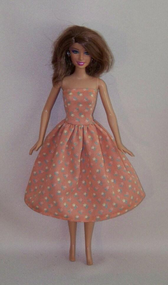 Handmade Barbie Clothes-Orange Print Barbie Dress
