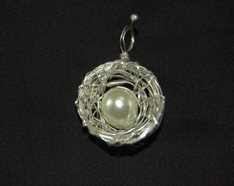 made to order wire wrapped pearl bird nest pendent
