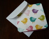 Blank Mini Card Set of 10 - Bright Multi-color Birds, Crafty Creations by CraftySherry  on Etsy