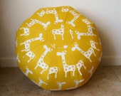 "SALE,  use coupon code ""15OFF""  Giraffes on Yellow background 18"" Floor  Pouf"