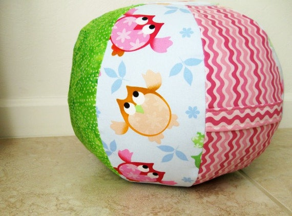 Fun and Whimsical Children's Floor Pouf/Ottoman with Owl , Zig-Zag and lovely green batik.