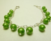 Sparkly Green Bracelet on Silver Chain