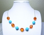 Turquoise Orange Necklace - Blue Howlite and Orange Faceted Beads