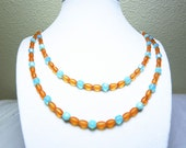 Tangerine Aqua Necklace - Orange and Aquamarine Glass Beads