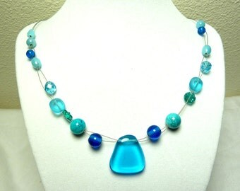 Blue Double Strand Necklace with Glass Pendant