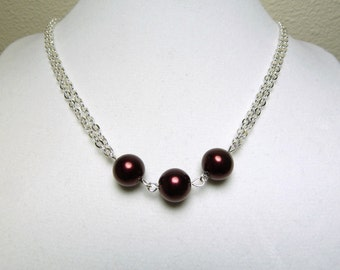 Red Pearl Necklace - Dark Crimson Triple Bead with Double Chain