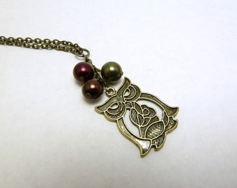 Brass Owl Pendant with Glass Pearls on Cable Chain