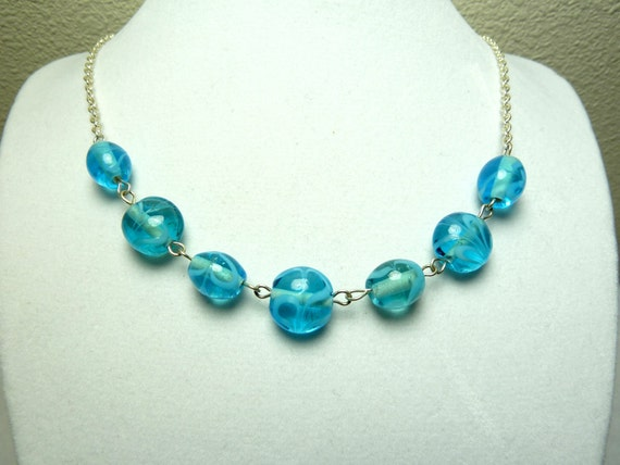 Blue Swirls Necklace - Glass Beads on Silver Plated Chain