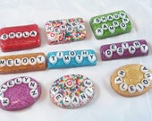 Custom Resin Name Word Pendant Magnet Sprinkles Glitter