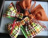 Tangerine Orange Fabric Drawstring Pouch for Jewelry Gift Giving or Event Favors