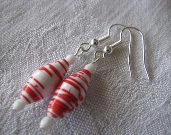 Red White Earrings, Hand Rolled Paper Bead Earrings