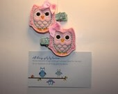 Harette the OWL - pink with auqa stitch