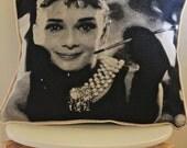 Audrey Hepburn CUSHION COVER - 45cm x 45cm (18inches x 18inches) - Cotton - Black, White & Grey